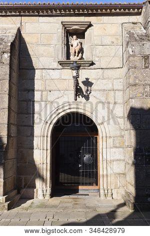 Door Of Church Of San Miguel De Bouzas, Beside O Adro Beach In Vigo, Pontevedra, Spain.