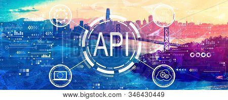 Api - Application Programming Interface Concept Api Concept With Aerial View Of The Bay Bridge In Sa