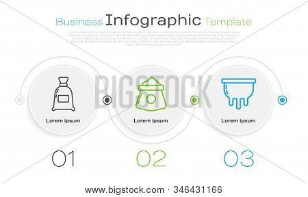 Set Line Bag Of Flour, Bag Of Flour And Udder. Business Infographic Template. Vector