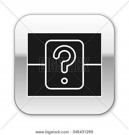 Black Mystery Box Or Random Loot Box For Games Icon Isolated On White Background. Question Box. Silv