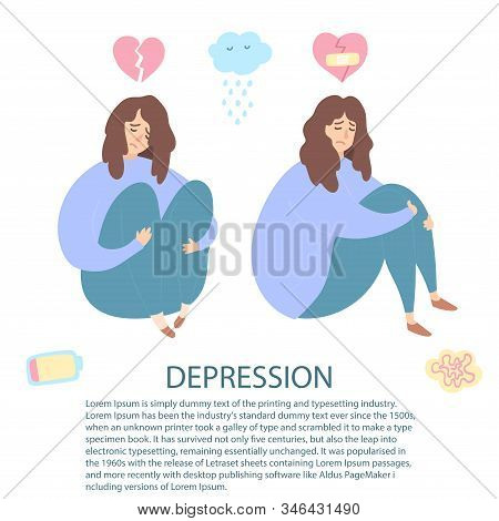 Upset And Depressed Women With Broken Heart Hug Legs. Set Of Sad And Depressed Girls Sitting. Heartb