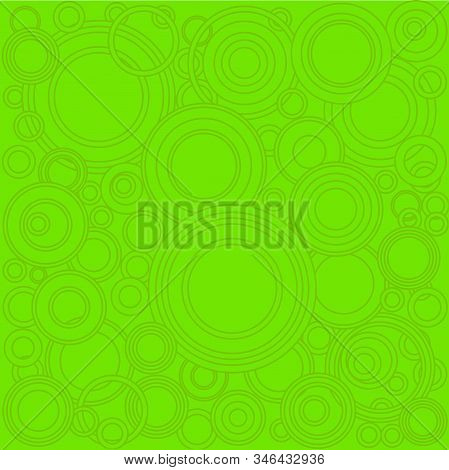 A Background Of Retrograde Dark Green Circlesover A Lighter Green Background.