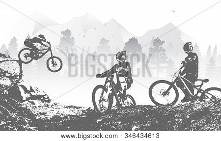Downhill Mountai Biking Freeride And Enduro Illustration. Bicycle Background With Silhouette Of Down