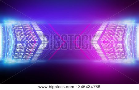 Ultraviolet Abstract Light. Diode Tape, Light Line. Violet And Pink Gradient. Modern Background, Neo