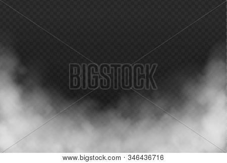 Smoke Or Fog Isolated Transparent Effect On Dark Background. White Cloudiness, Mist Or Smog Backgrou