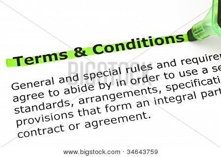 Terms And Conditions Highlighted In Green