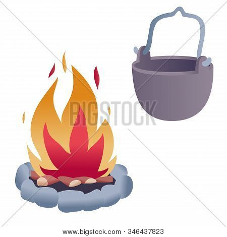 Set Of Campfire And Bowler Attributes Of A Camping Trip, Isolated Object On A White Background,