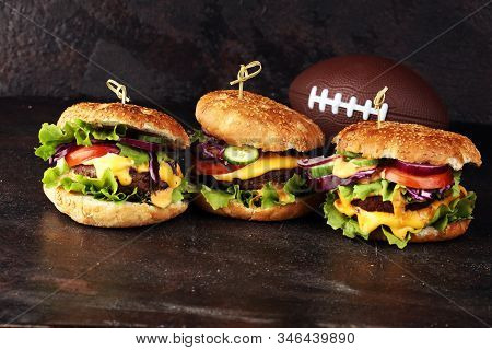 Tasty Fresh Meat Burgers With Salad And Cheese. Homemade Angus Burger. Great For Bowl Football Game