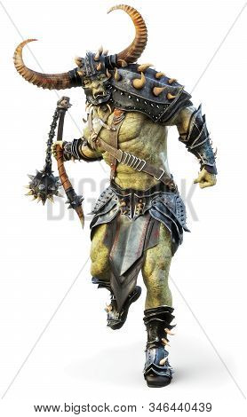 Savage Orc Brute Leader Running Into Battle Wearing Traditional Armor And Equipped With A Flail  . F