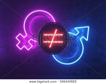 3d Illustration On The Topic Of Gender Inequality. Neon Icons For Men And Women. Icon Of Inequality.