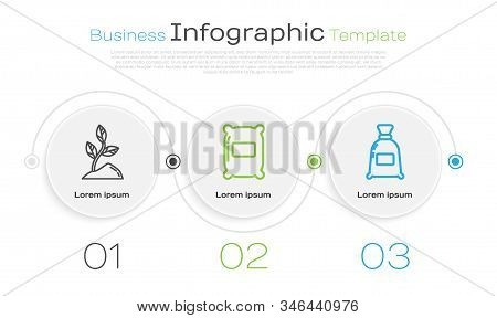 Set Line Sprout, Bag Of Flour And Bag Of Flour. Business Infographic Template. Vector