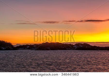 Dramatic Sunset Over Lofoten Islands, Norway. Amazing Dramatic Sunset Over Lofoten Islands, Norway.