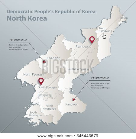 North Korea Map, Democratic Peoples Republic Of Korea, Administrative Division With Names, Blue Whit