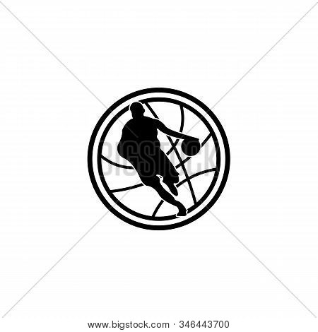 Vector Logo For Basketball Tournament, Modern Emblem With Flying Ball In Goal,  Basketball Tournamen