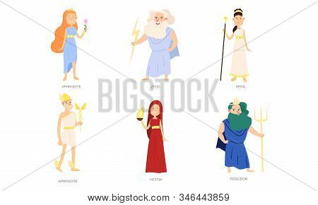 Greek Gods And Goddesses In Special Traditional Costumes Vector Illustration
