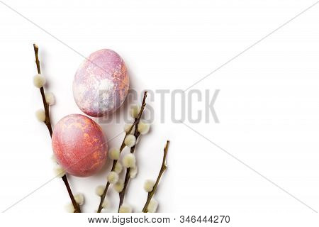 Easter Eggs With Branch Isolated On White. Top View, Flat Lay For Text. Horizontal For Logo. Concept