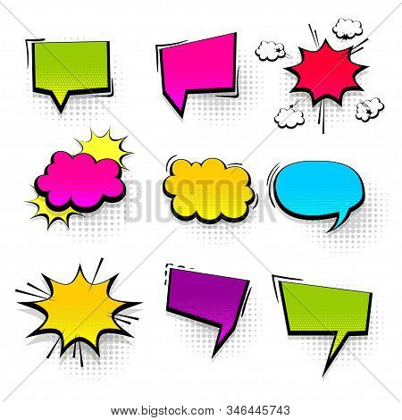 Colored Peech Bubble For Comic Text Isolated Background. Empty Colored Outline Bubble For Speech Tex