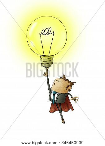 Businessman Dressed In Superhero With Cape, Flies Raising A Light Bulb With His Finger. Creativity C