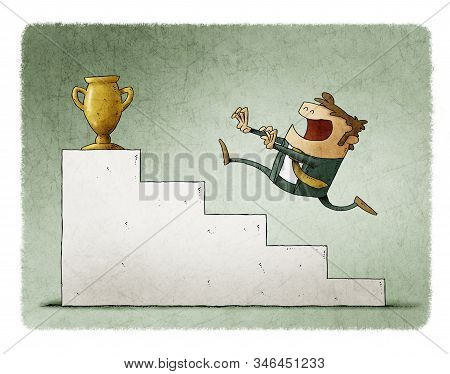 Businessman Runs Up Some Stairs To Reach A Golden Trophy.