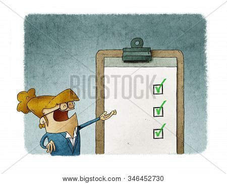 Business Woman Next To A Clipboard With Checklist. Successful Completion Of Business Tasks.
