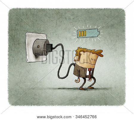 Illustration Of A Tired Man Plugged Into The Mains, He Is Charging The Battery.