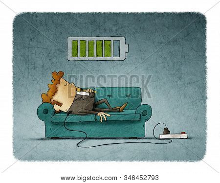 Illustration Of A Businessman On The Sofa Is Connected To The Power Grid While Recharging Energy. Re