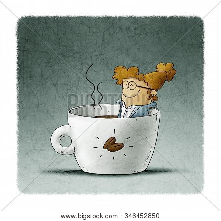 Businesswoman Is Taking A Bath Inside A Cup Of Coffee
