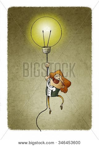 Businesswoman Flying On A Light Bulb As A Symbol Of Creativity.