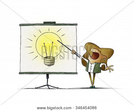 Woman Points On A Display A Large Light Bulb. Creativity Teaching Concept. Isolated