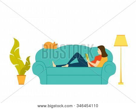 Beautiful Woman Reading A Book Or Studying Lying On The Sofa. A Red Cat Sleeps Nearby. Cartoon Illus
