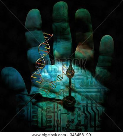 Time machine. Human's palm with clock hands and DNA chains. Electronic circuit on a background. 3D rendering