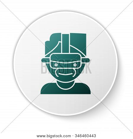 Green Virtual Reality Glasses Icon Isolated On White Background. Stereoscopic 3d Vr Mask. White Circ