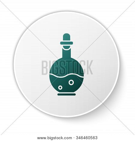 Green Glass Bottle With Magic Elixir Icon Isolated On White Background. Computer Game Asset. White C