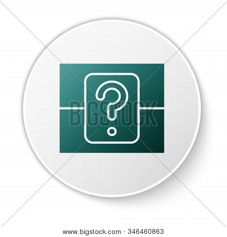 Green Mystery Box Or Random Loot Box For Games Icon Isolated On White Background. Question Box. Whit