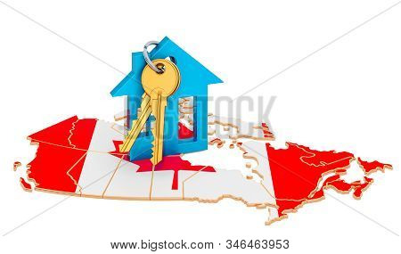 Real Estate In Canada Concept. Property For Sale, Rent Or Mortgage. 3d Rendering Isolated On White B