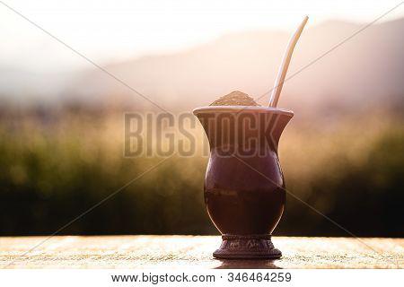 Gaucho Yerba Mate Tea, The Chimarão, Typical Brazilian Drink, Traditionally In A Cuiade Bombilla Sti