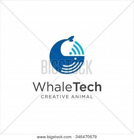 Whale Tech Logo Design Vector Stock . Abstract Whale Logo .circle Whale Logo