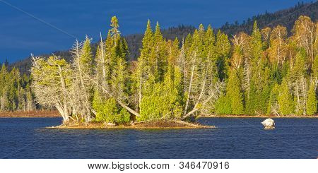 Springtime Panoramic Landscape Image Of A Small Cedar Covered Island On Rabbit Blanket Lake In Lake