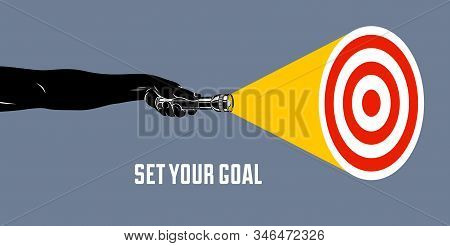 Hand With Flashlight Vector Concept Trendy Illustration, With Target Set Your Goal, Highlighting Sea