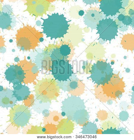 Watercolor Paint Transparent Stains Vector Seamless Grunge Background. Retro Ink Splatter, Spray Blo