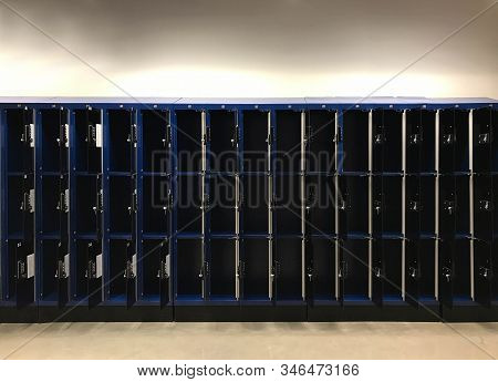 Front View Of Digital Padlock Locker In Shopping Store