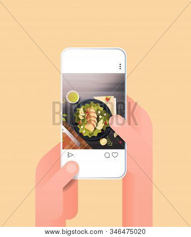 Human Hands Using Online Mobile App Fresh Salad Prepared Dish For Blog On Smartphone Screen Food Blo