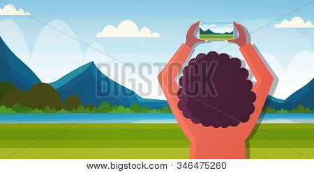 Travel Blogger Using Smartphone Camera During Hiking Woman Taking Photo Or Video Blogging Live Strea