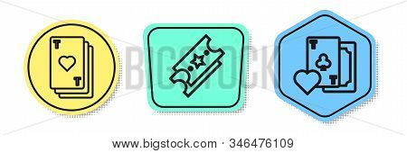 Set Line Playing Card With Heart, Lottery Ticket And Playing Card With Clubs Symbol. Colored Shapes.