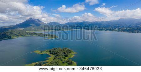 Panoramic view of Lake Arenal, Costa Rica.