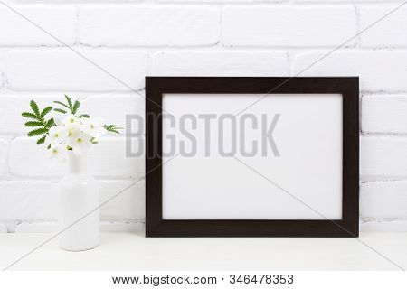 Black Brown  Landscape Frame Mockup With Tobacco Flowers