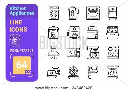 Kitchen Appliances Line Icons Set Vector Illustration. Collection Consista Of Meat Grinder Boiler Mu