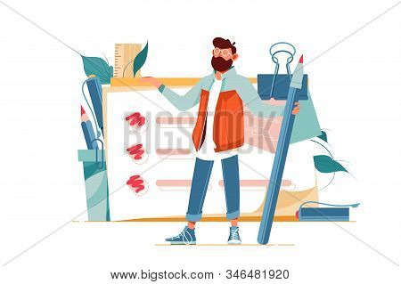 Positive Man Holding Giant Pencil At Big Complete Checklist With Tick Marks Vector Illustration. Bea