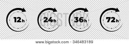 Clock Arrow 12, 16, 24, 48, 72 Hours. Set Of Delivery Service Time Icons.