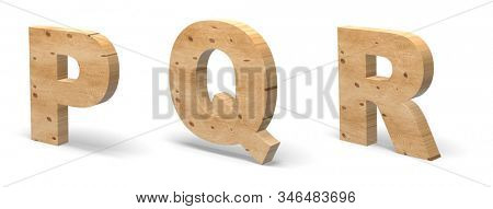 3D Letters P, Q, R, Cut out of Wood Isolated on White Background. Wooden Text Template. 3D Illustration.
